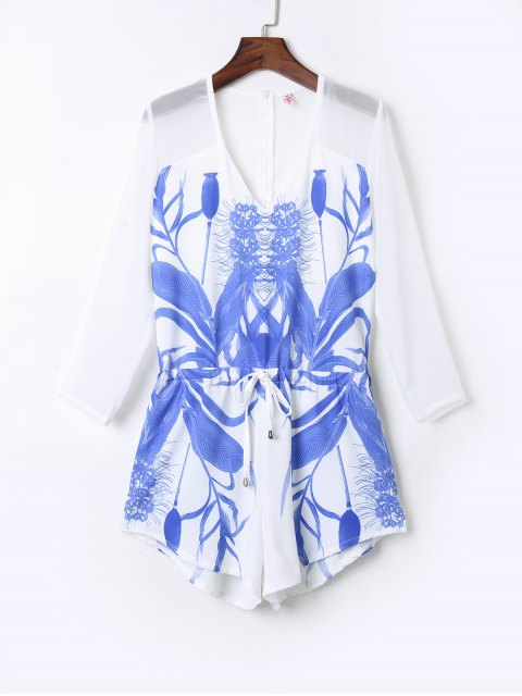 outfit Floral Print Drawstring Design Playsuit - WHITE L Mobile