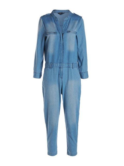 ladies Blue Denim V Neck Long Sleeve Jumpsuit -   Mobile
