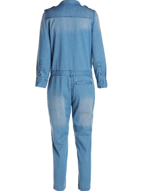 ladies Blue Denim V Neck Long Sleeve Jumpsuit - BLUE S Mobile