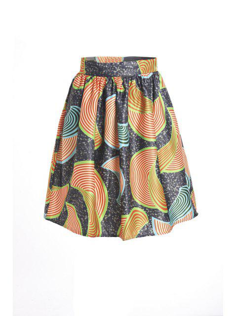 buy Print High Waist Flare Skirt - COLORMIX S Mobile