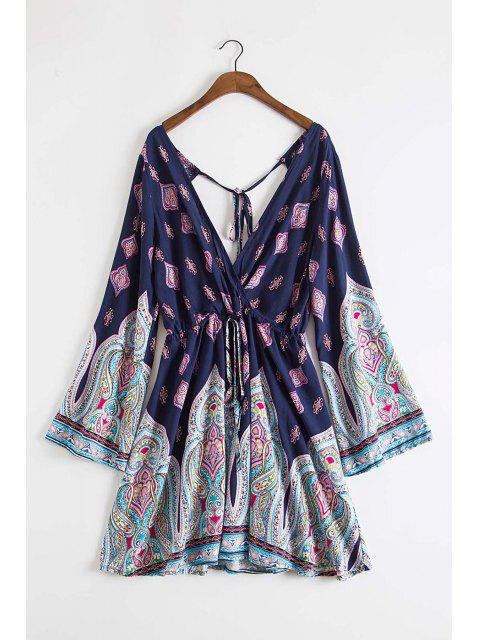 latest Plunging Neck Vintage Print Dress - DEEP BLUE S Mobile