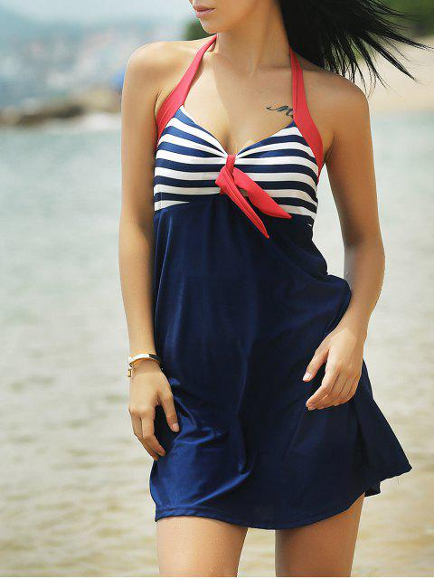 sale Halter Convertible Sailor Retro Swimdress Bathing Suit - BLUE AND RED 2XL Mobile