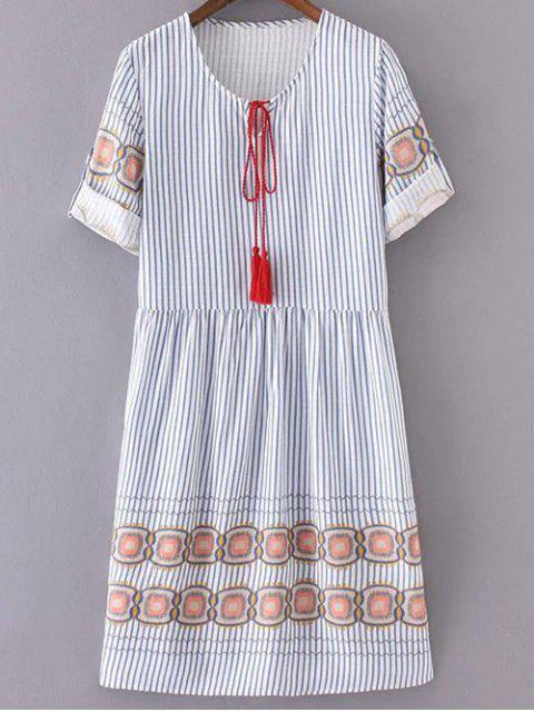 chic Striped Half Sleeve Dress - BLUE AND WHITE S Mobile