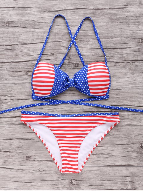 unique American Flag Patriotic Bikini Bathing Suit - RED AND WHITE AND BLUE L Mobile