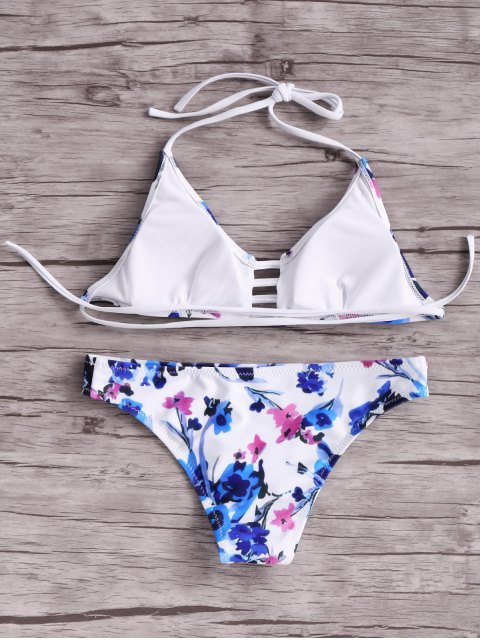 lady Women Floral Halter Bikini Set - BLUE AND WHITE AND RED L Mobile