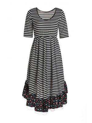Striped Floral Print Flouncing Midi Dress - White And Black S