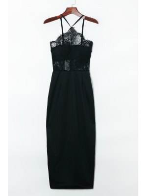 Suspender Lace Splicing Sleeveless Backless Dress