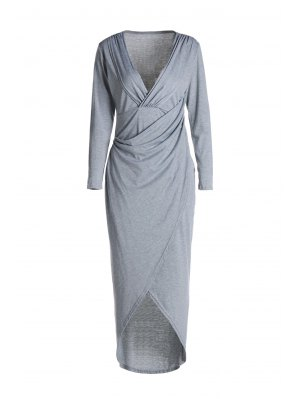 Plunging Neck Cross High Split Long Sleeve Dress - Light Gray S
