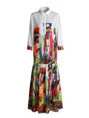Ethnic Figure Print Long Sleeve Maxi Dress