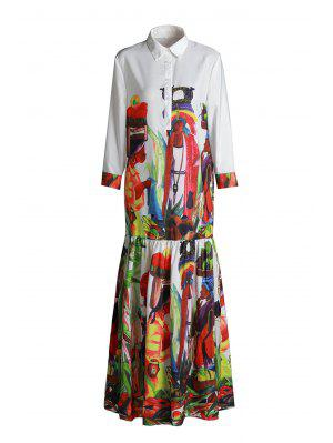 Ethnic Figure Print Long Sleeve Maxi Shirt Dress