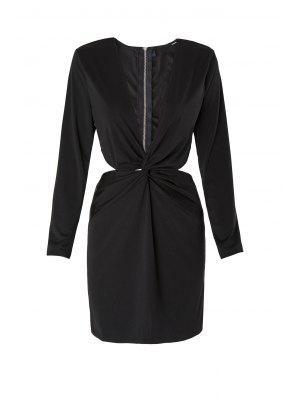 Long Sleeve Front Twist Cut Out Club Dress