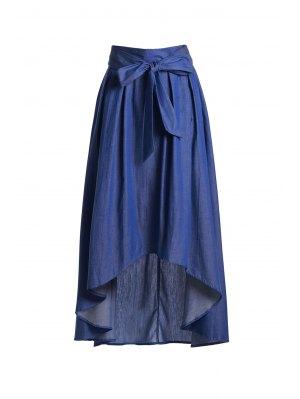 High-Waisted Bowknot High Low Skirt - Blue 2xl