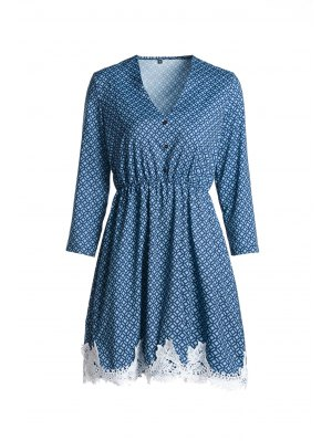 Long Sleeve Printed Lace Hem Dress - Blue Xl