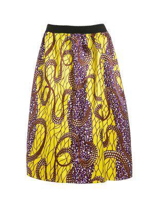 Retro Print Ball Gown Women's Skirt - Golden M