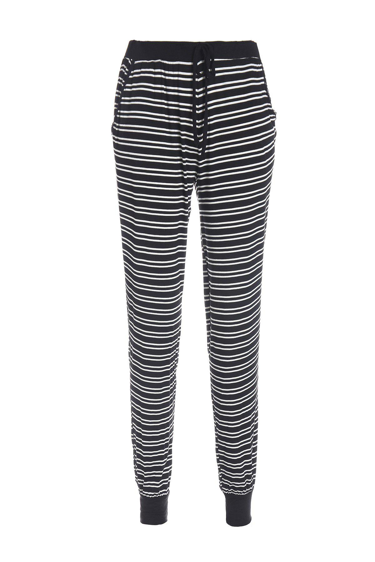 Casual Style Elastic Waist Black and White Stripe Pocket Pants For Women