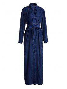 Blue Shirt Neck Long Sleeve Maxi Dress - Blue L