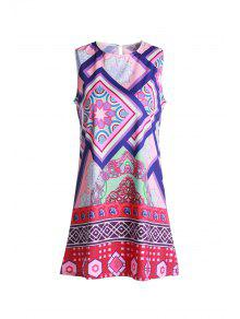Geometric Print Round Collar Sundress - Purple Xl