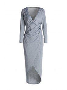 تغرق الرقبة الصليب عالية سبليت فستان طويل الأكمام - رمادي فاتح L