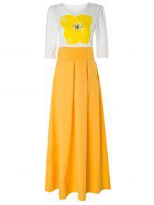 Maxi Vestido Con Manga Corta De Flores - Amarillo S