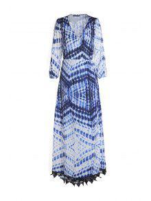 فستان ماكسي نسائي طباعة  - ازرق وابيض S