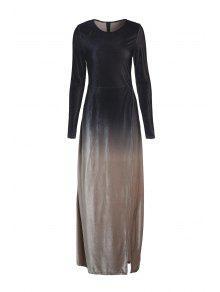 Long Sleeves Side Slit Gradient Color Dress - Black S