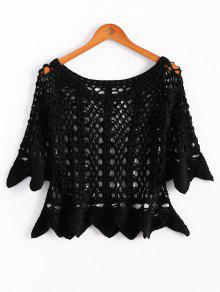 Solid Color Cut Out Round Neck Butterfly Sleeve Sweater - Black