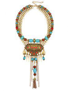 Tribal Tassel Bib Statement Necklace - Golden
