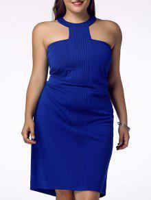 Con Estilo Más El Tamaño De Vestido De La Envoltura Backless Racerfront Para Las Mujeres - Azul 2xl