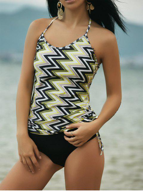 buy Zig-Zag Print Women's Straps Print Tankini - YELLOW XL Mobile