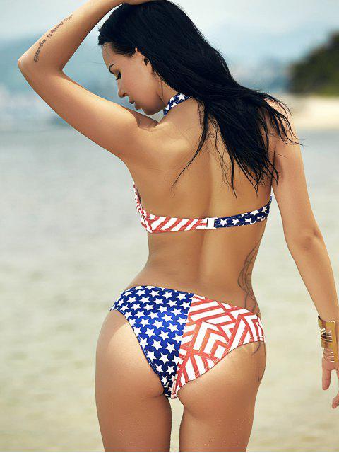 shops Halter Flag Print Bikini - COLORMIX M Mobile