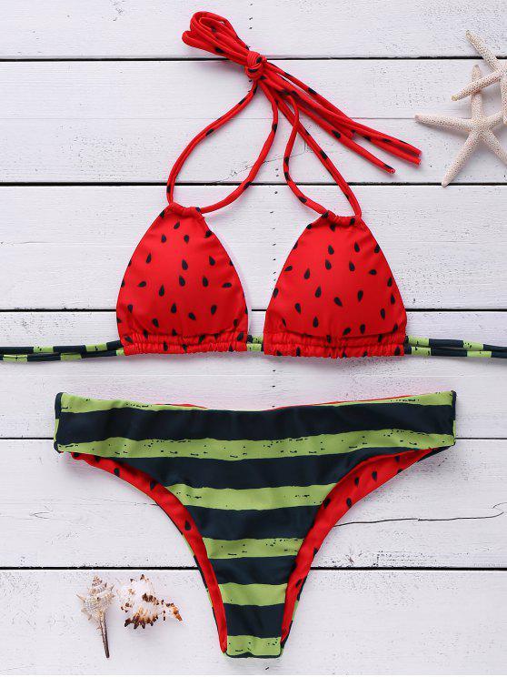 Traje de Bikini de Halter con Estampado de Sandía - Rojo M