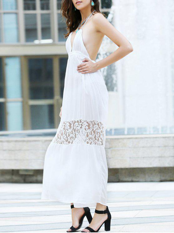 shop Open Back Halter Lace Panel Maxi Dress - WHITE S