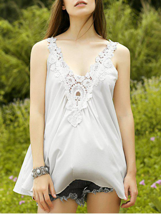 online Cut Out Lace Spliced Scoop Neck Tank Top - WHITE M