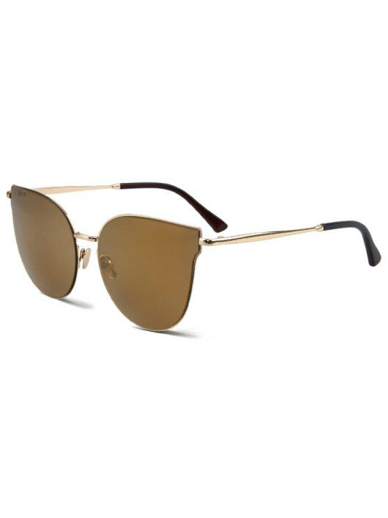 trendy Street Fashion Golden-Rim Cat Eye Sunglasses - LIGHT COFFEE