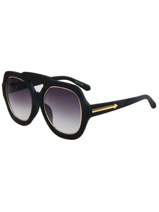 Seta dupla Rim Matte Óculos de sol pretos - Preto
