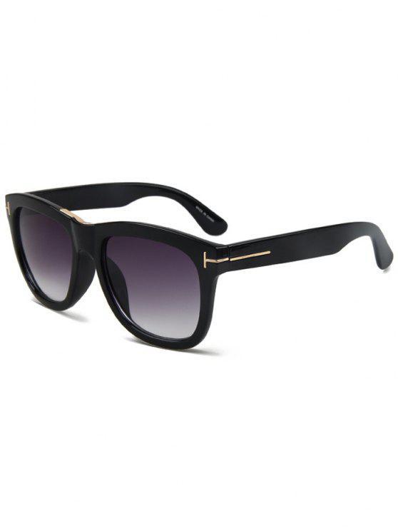 ladies Letter T Bright Black Square Sunglasses - BLACK