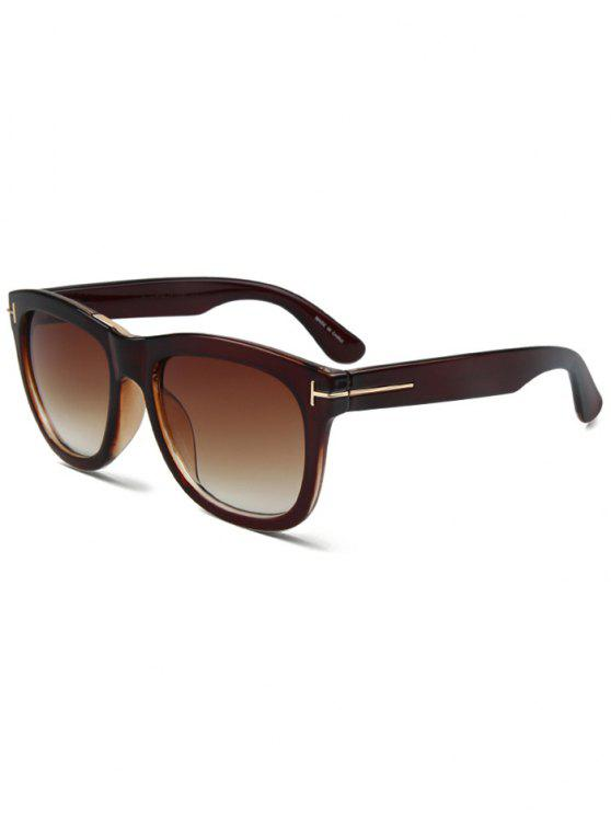 lady Letter T Tea-Colored Square Sunglasses - TEA-COLORED