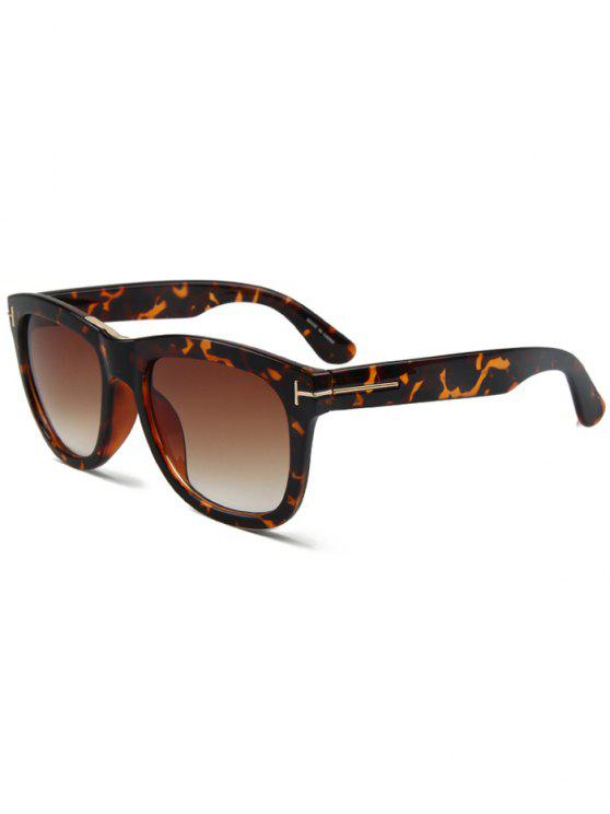 T Square leopardo Gafas de sol de la letra - Marrón