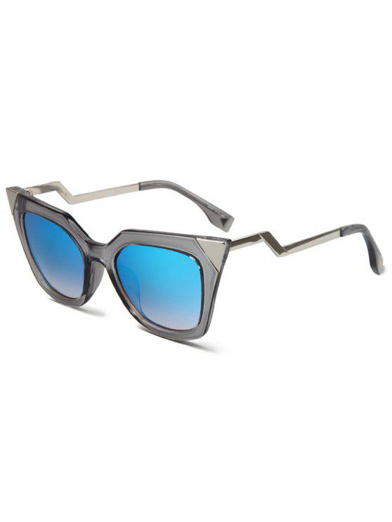 shops High Pointed Zigzag Leg Cat Eye Sunglasses - TRANSPARENT GRAY