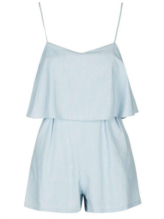 women's Solid Color Cami Romper - LIGHT BLUE S