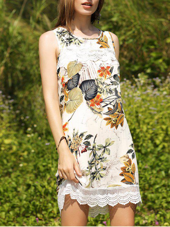 buy Printed Keyhole Back Lace Trim Dress - COLORMIX XL