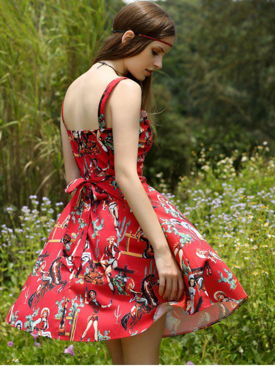 fancy Printed Vintage Spaghetti Straps Ball Gown Dress - RED XL