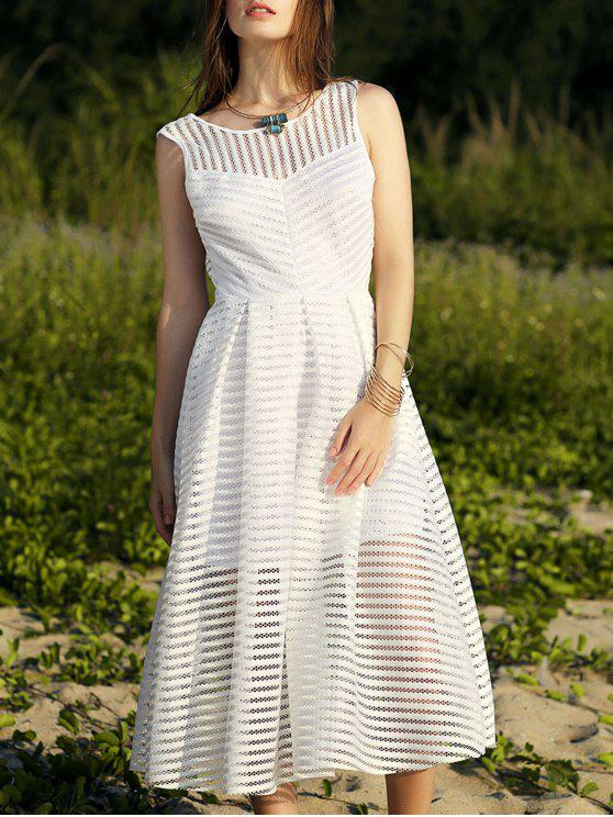 outfits Backless Solid Color Round Neck Sleevelesss Dress - WHITE S