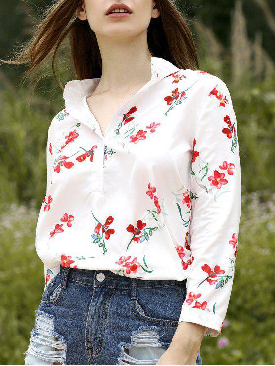 unique Floral Stand Neck Half Sleeve Shirt - WHITE XL