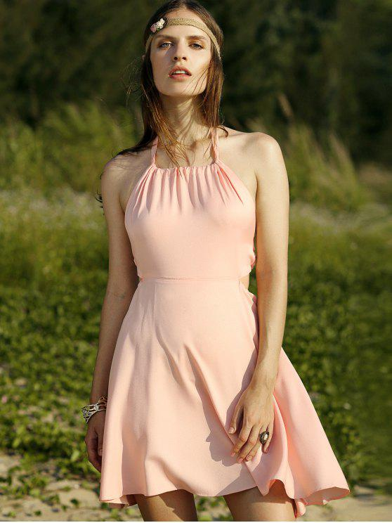 womens Backless Halter Solid Color A Line Dress - PINK L