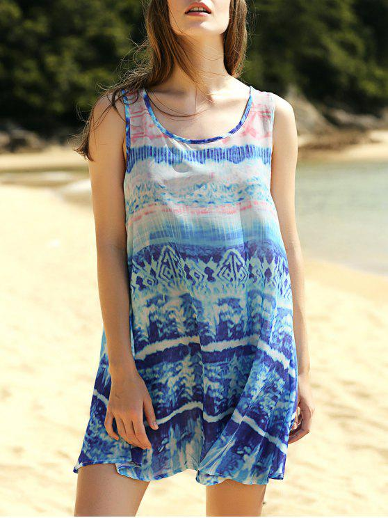 trendy Printed Scoop Neck Tank Dress - COLORMIX L