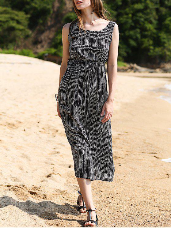 women Striped Waisted Long Dress - BLACK 2XL
