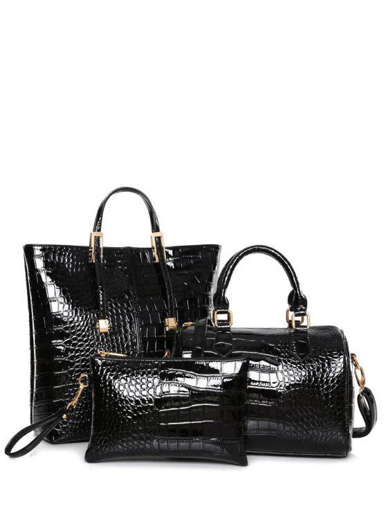 buy Crocodile Print Metal Buckles Tote Bag - BLACK