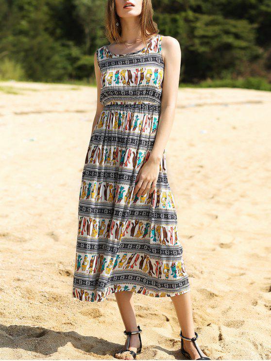 affordable Colorful Animal Print Long Dress - COLORMIX M