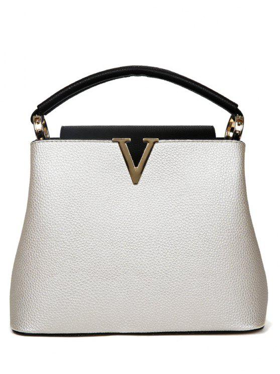 womens Letter V PU Leather Tote Bag - WHITE